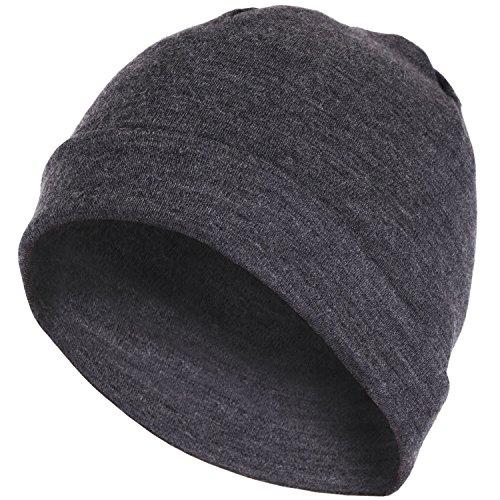 MERIWOOL Unisex Merino Wool Cuff Beanie Hat - Chracoal Gray