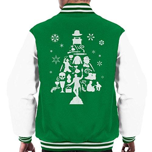 white Men's Kelly Jones Tree Indiana Jacket Varsity Silhouette Christmas 08qxnRO1