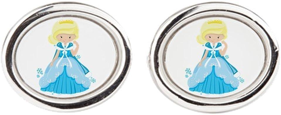 Ice Princess Snowflake Royal Lion Cufflinks Oval