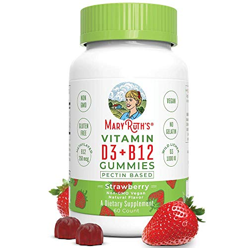 Vegan Vitamin D3+B12 Gummy (Plant-Based Gummies) by MaryRuth's – Made w/Organic Ingredients Non-GMO Vegan Paleo Gluten Free for Men, Women & Kids 1000 IU Vitamin D3 & 250 mcg Vitamin B12 60 Count