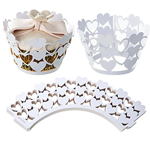 ZOOYOO Heart Shape Cupcake Wrappers Bake Cake Paper Cups Lace Laser Cut Liner Muffin Case Trays Hollow Out Cups for Wedding Party Birthday Decoration White 50pcs