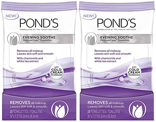 Pond's Evening Soothe Wet Cleansing Towelettes with Chamomile and White Tea, 28 Count (Pack of ()