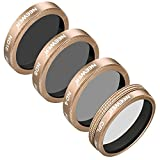 Neewer 4 Pieces Lens Filters Kit for Autel X-Star Drone, Includes CPL ND4 ND8 ND16 Filters, Made of Ultra High Definition Glass and Aluminum Frame (Gold)