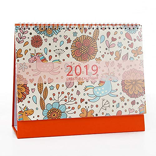 Tong Yue 2018-2019 Small Desk Calendar Table Top Desktop Standing Calendars with Easel,Unicorn