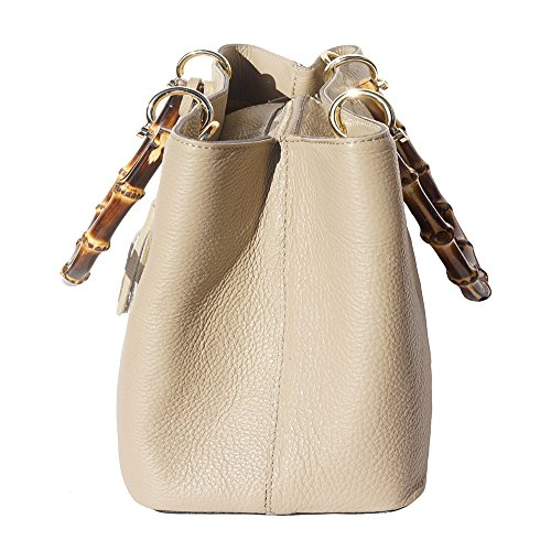 Leather Bamboo and bags Veronica Taupe with leather handbag metal handle golden hardware 9139 tFXvqwXZ
