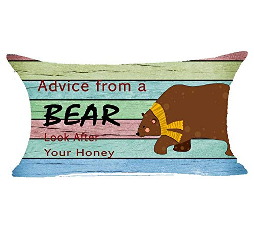 Advice from A Bear Look After Your Honey Wood Plank Backgroun Cotton Linen Throw Patio Furniture Pillive Pow Covers Cushion Cover Cover Couch Decorative Rectangle 12x20inch Decoratillow Family