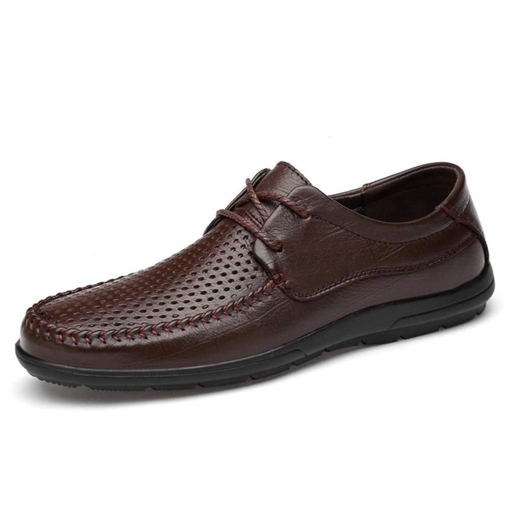 Dark-marron QianHaoQJu Hommes Lacets en Cuir Véritable Conduite en Cuir Mocassins for Hommes Bateau Chaussures à Bout Rond évider Super Flexible ExpériHommesté Cousu à Semelle Chaussures