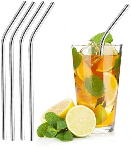 Pack of 4 Stainless Steel Reusable Drinking Metal Straw and Cleaning Brush