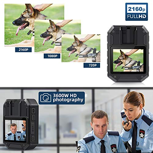 CAMMHD Professional 2160P Police Body Camera,64GB Memory,Portable Body Camera, Sturdy Body Worn Camera with 2 Inch Display, Night Vision,3000 mAh Battery,10HR Battery Life for Law Enforcement