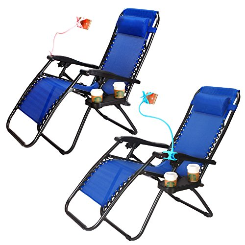 Super Decor Set of 2 Zero Gravity Outdoor Lounge Chairs w/Cup Holder with Mobile Device Slot Adjustable Folding Patio Reclining Chairs W/Snack Tray + Phone Holder by Super Decor