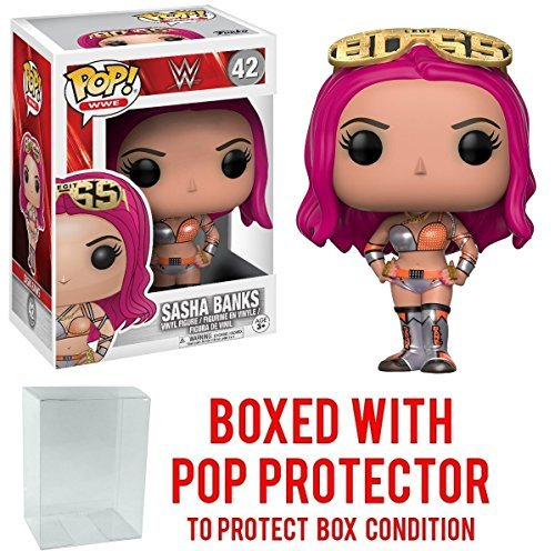 Funko Pop! WWE Sasha Banks Vinyl Figure (Bundled with Pop BOX PROTECTOR CASE) by Funko