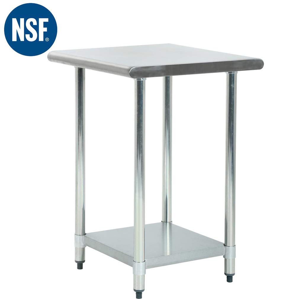 Metal Kitchen Work Table Antirust and Scratch Resistent Antirust Commercial Stainless Steel Work Table with Adjustable Table Foot,24 X 24 Inchs