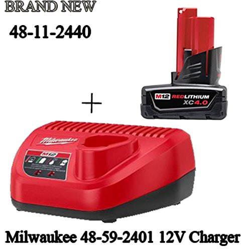 (Milwaukee 48-11-2440 M12 4.0 Ah Red + 48-59-2401 M12 Battery Charger Starter)