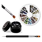 12 Colors Mixed Round Rhinestones Set with Glue and Tool Included, Mixed Flatback Glass Gems Stones Rhinestones, 8ml Adhesive Resin Glue Gel, 1 Dual-purpose Pen
