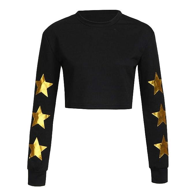 Adolescentes Chicas Camiseta Sin Capucha Corta para Mujer Sudaderas Cortas Negras Estampadas con Patrón De Estrellas De Manga Larga Casual con Cuello ...
