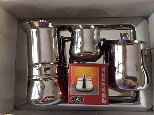 GAT Pritika - Stainless Steel Espresso Stove Top Coffee Maker Set - 5 pieces - 6 cup