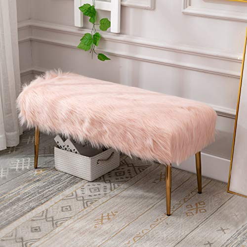 Wahson Faux Fur Ottoman Bench with Gold Metal Legs Bed End Stool Window Seat,Footstool for Bedroom/Living Room/Entryway…