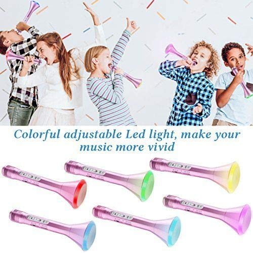 Ginkago Wireless Kids Karaoke Microphone Bluetooth Speaker Portable Bluetooth Handheld Player Kids Adult Singing Party Music Playing, Support iPhone Android Smartphone PC iPad by Ginkago (Image #4)