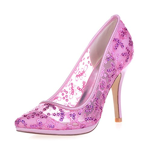 Heels Bridal Sarahbridal Wedding Toe High 32 Closed Sequins Pink Court Shoes Shoes SZXF0255 with Stiletto Ladies Bridesmaid 0gn04px
