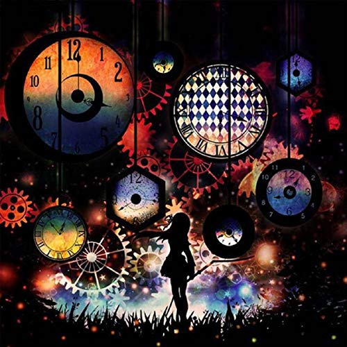 Barlingrock Gear Clock&Girl Diamond Paintings Kits for Adults, 5D DIY Embroidery Cross Stitch Paintings Round Drill Rhinestone Painting Artwork Home Living Room Bedroom Wall Decor-30x30cm/12x12