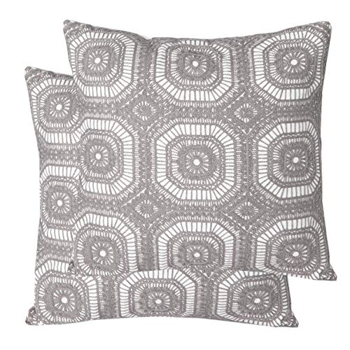 Mika Home Pack of 2 Embroidery Geometric Circles Decorative Throw Pillow Cases Cushion Covers for 18X18 Inserts Cotton Fabric Grey White ()