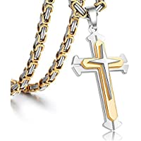 """Jewelry Stainless Steel Cross Pendant Necklace Mens Boys Chain 5mm Byzantine Gold Genuine Cuban Link Curb Chain 20-30inch (Pendant with 28"""" Chain)"""