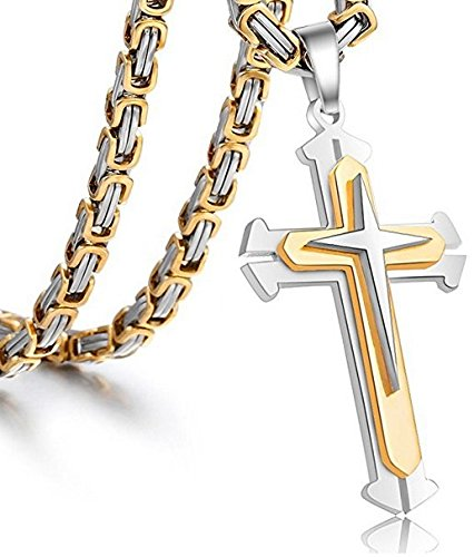 Jewelry Stainless Steel Cross Pendant Necklace Mens Boys Chain 5mm Byzantine Gold Genuine Cuban Link Curb Chain 20-30inch (Pendant with 24