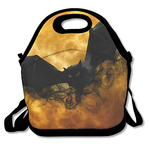 (YongColer Neoprene Lunch Bag Reusable Insulated Thermal Lunch Tote Waterproof Outdoor Picnic Carry Case Lunchbox - Full Moon Flying Black Bats Handbags with Zipper for Womens Boys Girls )