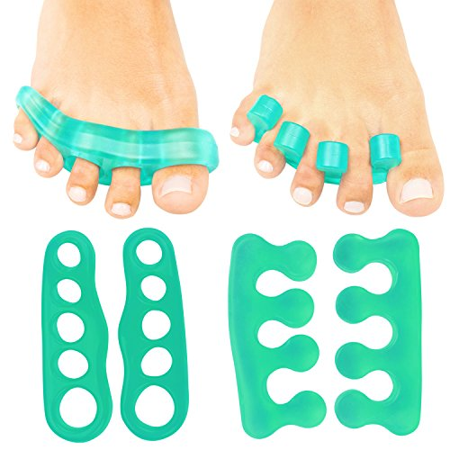 ViveSole Toe Stretchers (4 Pieces) - Silicone Gel Separators - Therapeutic Spa Spreaders for Plantar Fasciitis, Bunions, Overlapping Hammer Toe Spacers - Metatarsal Yoga Cushion Dividers - Men, Women
