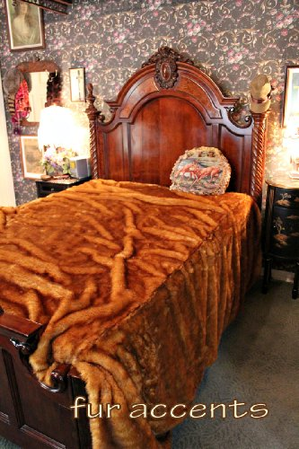 Fur Accents Faux Fur Queen Size Bedspread / Throw Blanket / Tip Dyed Red Fox /90'' X 96'' by Fur Accents