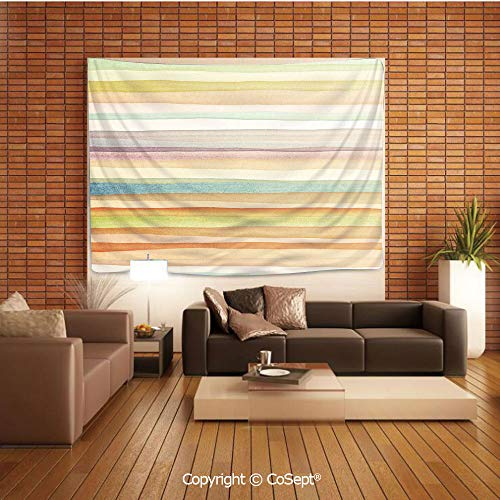 PUTIEN Polyester Fabric Tapestry,Horizontal Watercolors Stripes Acrylic Artistic Elements Liquid Brushstrokes Print Decorative,Tapestry Art Print Tapestry for RoomMulticolor