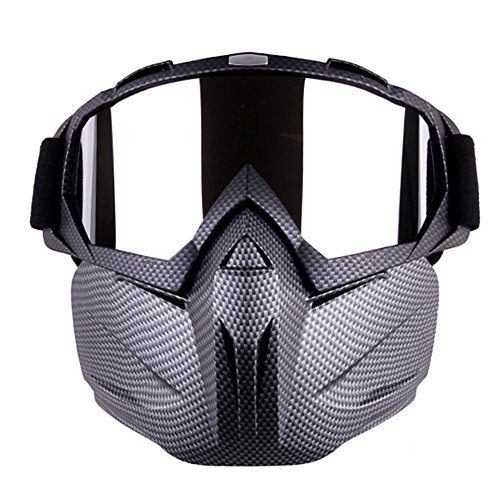 Outamateur Motorcycle Goggles Mask - Tactical Glasses with Detachable Mask Adjustable Windproof Outdoor Paintball Airsoft Mask Face Shield for Kids Youth Men Women (Snakeskin Design)