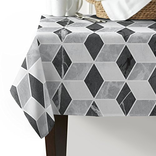 54 Black Cube - Table Cover for Kitchen Dinning Tabletop Decoration,White and Black Cube Ombre (Rectangle/Oblong, Linen) 54x120inch