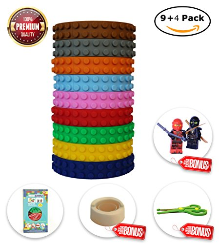 BLOCKBUILD Building Block Tape (4 Pack/ 9 Pack) for Lego bricks blocks, self-adhesive silicon building blocks tape. Flexible, non-toxic, safe educational toy ,art supply for children of any - Right Frame Face For Shape Your