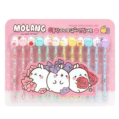 Molang Mini Figure Pencil Set Korean Stationery 12ea 1 set Ver.04 For Girls Boys School Home