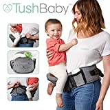 TushBaby The Only Safety Certified Hip Seat Baby Carrier - As Seen On Shark Tank-Adjustable, Machine Washable, Ergonomic Newborn + Toddler + Child Carrier, Safe Ultra-Comfortable Waist Carrier Grey