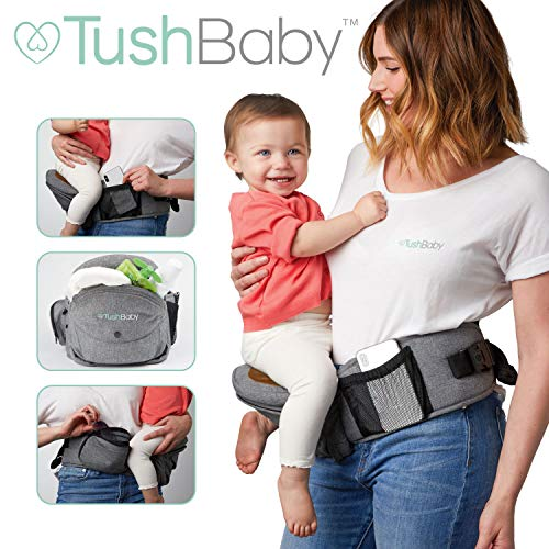 TushBaby The Only Safety Certified Hip Seat Baby Carrier - As Seen On Shark Tank - Adjustable, Machine Washable, Ergonomic Child + Infant + Toddler Carrier, Safe Ultra-Comfortable Waist Carrier Black