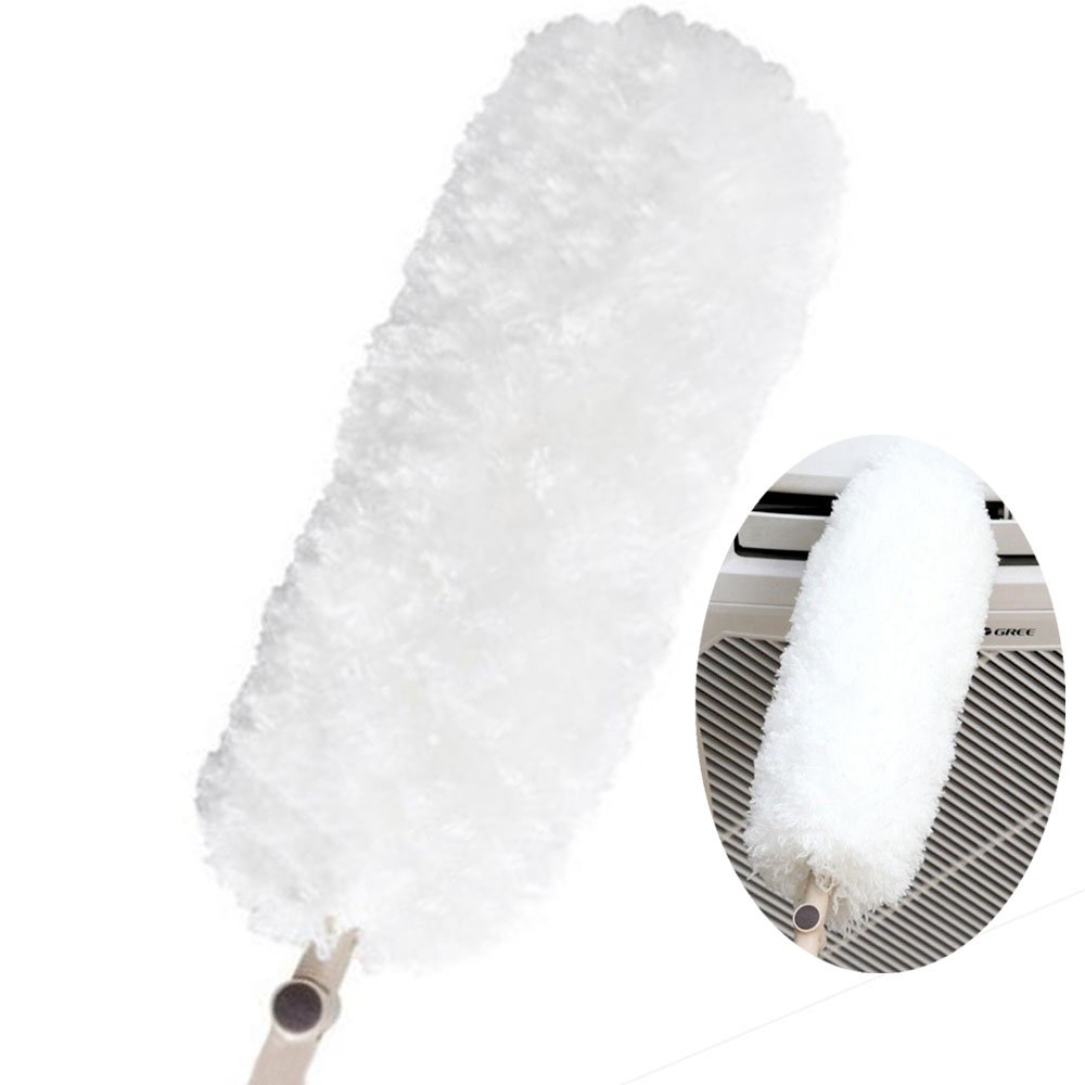 M-H-R Microfiber Duster for Cleaning with Extension Pole,Electrostatic Adsorption,Bendable, Flexible,Washable,Duster Wand Clean Blinds, Furniture, Shutters, Cars,Cleaning Supplies Brush (White)