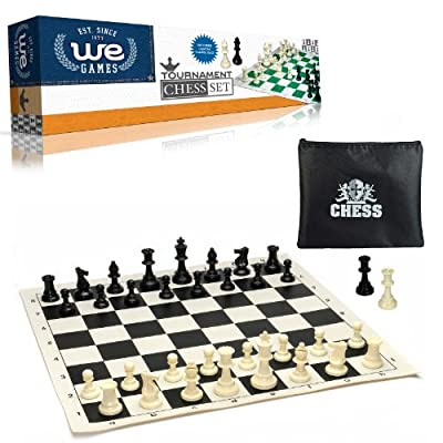 WE Games Tournament Chess Set– Heavy Weighted Chess Pieces with Black Roll-up Chess Board and Zipper Pouch for Chessmen