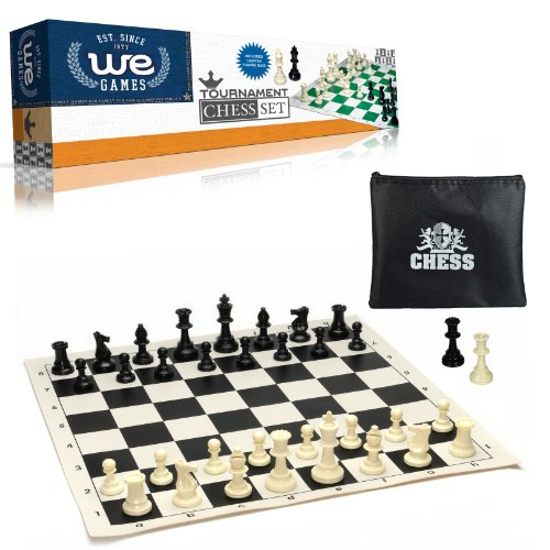 WE Games Tournament Chess Set Heavy Weighted Chess Pieces with Black Roll-up Chess Board and Zipper Pouch for Chessmen