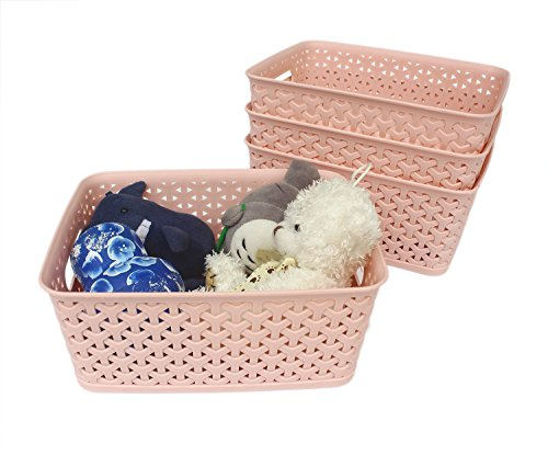 (Honla Weaving Plastic Storage Baskets Bins Organizer with Handles,Set of 4,Pink)