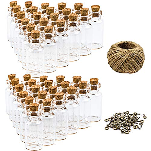 HEHALI 50pcs 5ml Mini Glass Jars Bottles with Cork Stoppers Wish Bottles, 50pcs Eye Screws, 30 Meters Twine & 3pcs Funnel