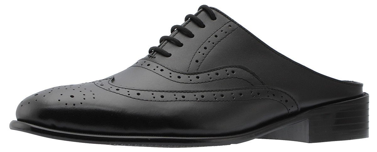 Holstyle Handmade Men's Wing-tip Lace-up Leather Oxford Dress Slippers Mules & Clogs Slip-On Slippers Shoes HSB-1520SL black 10.5 by Holstyle