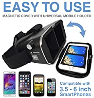 """Virtual Reality Headset 3D VR Glasses by Voxkin – High Definition Optical Lens, Fully Adjustable Strap, Focal and Object Distance – Perfect VR Headset for iPhone, Samsung and any Phones 3.5"""" to 6"""" from Voxkin"""