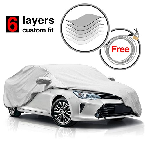Heavy Duty Waterproof Windproof 6 Layers Camry Car Cover for Toyota Camry 2010-2017,All Weather Dustproof Scratch Proof Car Covers for Camry, Free Windproof Ribbon & Anti-theft Lock (Best Car Covers Reviews)