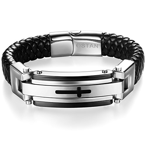 Ostan Mens Bracelet Men's Stainless Steel Bracelet Braided Religious Cross Cuff Bangle Rope Black (Cross Black Religious)