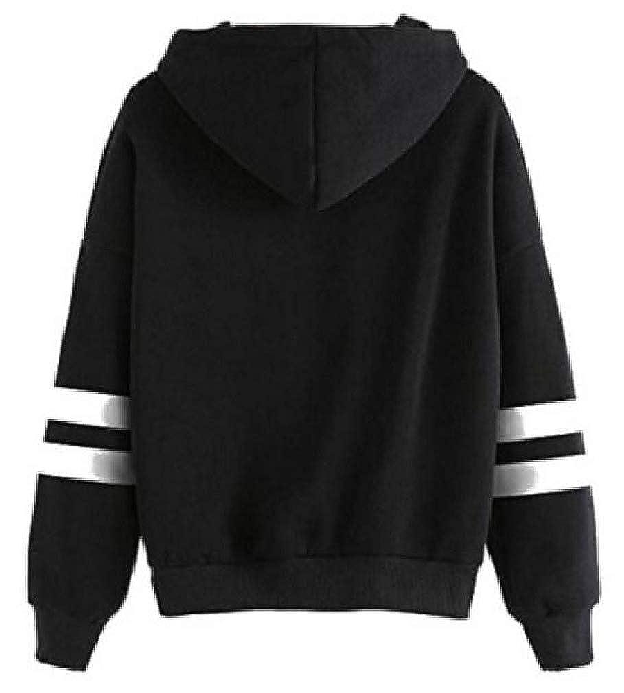Vska Womens Stylish Patched Casual Long Sleeve Tunic Hoodie Sweatshirts