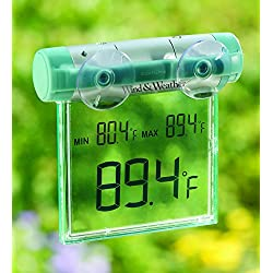Plow & Hearth Weather-Resistant Digital Window Mounted Thermometer with Big Display