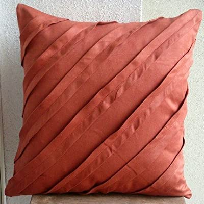 Luxury Rust Pillows Cover, Textured Pintucks Solid Color Pillows Cover, Square Faux Suede Pillow Covers Decorative, Contemporary Pillow Cover - Contemporary Rust