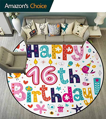 16Th Birthday Carpet Gray Round Area Rug,Joyful Icons with Celebration Figures Party Note Surprise Graphic Design Pattern Floor Seat Pad Home Decorative Indoor Diameter-71 Inch,Multicolor (Double 16th Note)